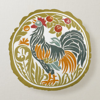 Art Nouveau Rooster Round Round Pillow