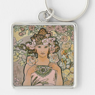 Art Nouveau Rose Flower Girl Keychain