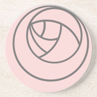 Art Nouveau Rose in Pink and Grey Coaster