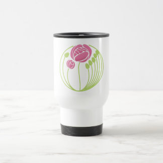 Art Nouveau Rose in the Style of Rennie Mackintosh 15 Oz Stainless Steel Travel Mug