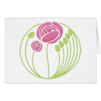 Art Nouveau Rose in the Style of Rennie Mackintosh Card