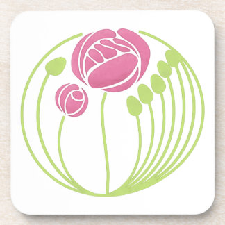 Art Nouveau Rose in the Style of Rennie Mackintosh Coaster