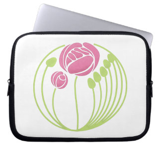 Art Nouveau Rose in the Style of Rennie Mackintosh Laptop Sleeve