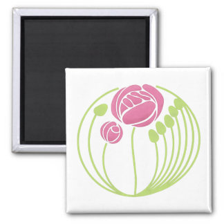 Art Nouveau Rose in the Style of Rennie Mackintosh Magnet