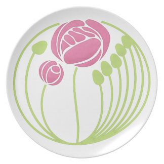 Art Nouveau Rose in the Style of Rennie Mackintosh Melamine Plate