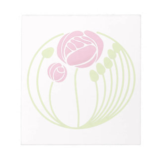 Art Nouveau Rose in the Style of Rennie Mackintosh Notepad