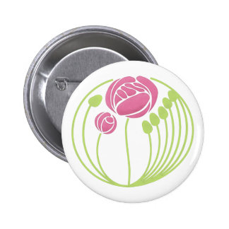 Art Nouveau Rose in the Style of Rennie Mackintosh Pinback Button