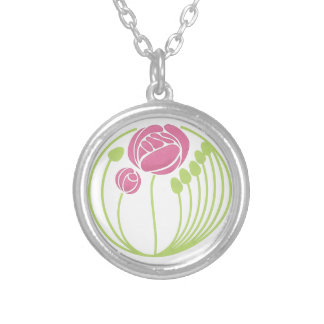 Art Nouveau Rose in the Style of Rennie Mackintosh Silver Plated Necklace