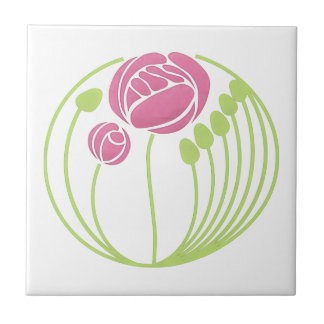 Art Nouveau Rose in the Style of Rennie Mackintosh Ceramic Tile