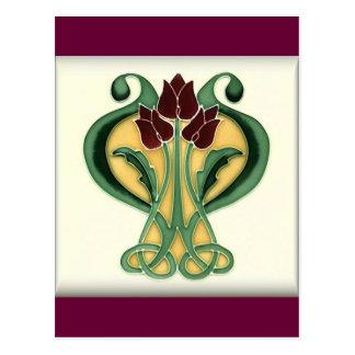 Art Nouveau Rose Tile Post Card