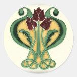 Art Nouveau Rose Tile Round Sticker