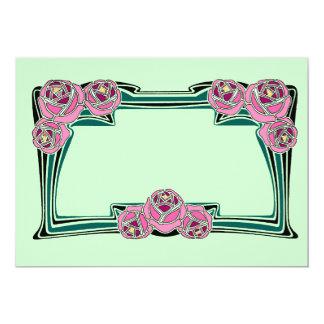 "Art nouveau roses 5"" x 7"" invitation card"