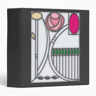 Art Nouveau Roses Design in Stained Glass Effect Binder