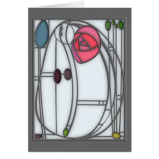 Art Nouveau Roses Design in Stained Glass Effect Card