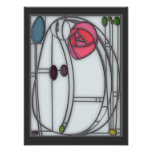 Art Nouveau Roses Design in Stained Glass Effect Poster