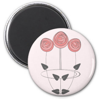 Art Nouveau Roses in Pink and Grey Magnet