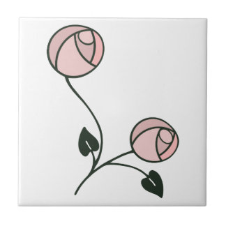 Art Nouveau Roses in Pink and Mauve Purple Small Square Tile