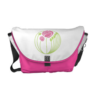 Art Nouveau Roses Motif in Pink and Green Courier Bag