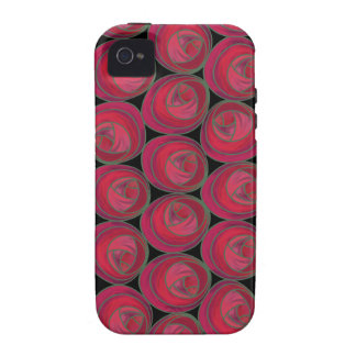 Art Nouveau Roses Pattern in Pink and Red Vibe iPhone 4 Case