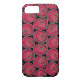 Art Nouveau Roses Pattern in Pink and Red iPhone 7 Case