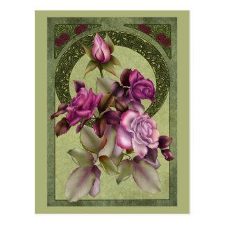 Art Nouveau Roses Postcard
