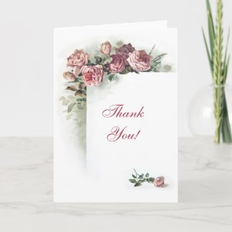 Art nouveau roses Thank You card