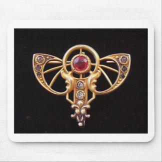 Art Nouveau Ruby Paste Pin 2 Mouse Pad