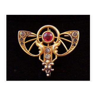 Art Nouveau Ruby Paste Pin 2 Postcard