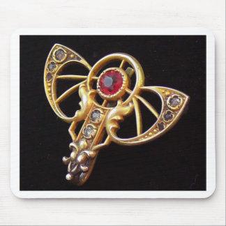 Art Nouveau Ruby Paste Pin Mouse Pad