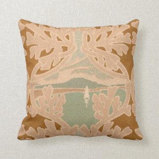 Art Nouveau Sailboat Antique Print Pillow