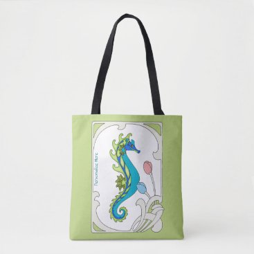 Beach Themed Art Nouveau Seahorse Personalized Tote Bag