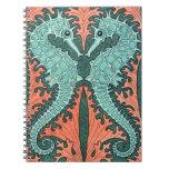 Art Nouveau Seahorses Note Book