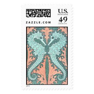 Art Nouveau Seahorses Postage Stamp