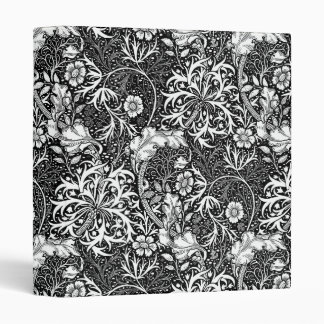 Art Nouveau Seaweed Floral, Black and White Binder