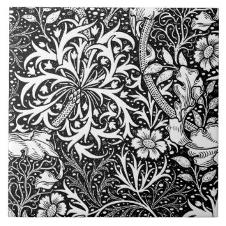 Art Nouveau Seaweed Floral, Black and White Ceramic Tile