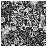 Art Nouveau Seaweed Floral, Black and White Fabric