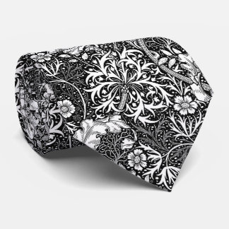 Art Nouveau Seaweed Floral, Black and White Neck Tie