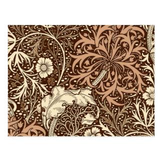 Art Nouveau Seaweed Floral, Brown and Beige Postcard