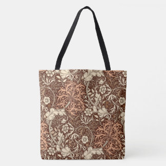 Art Nouveau Seaweed Floral, Brown and Beige Tote Bag