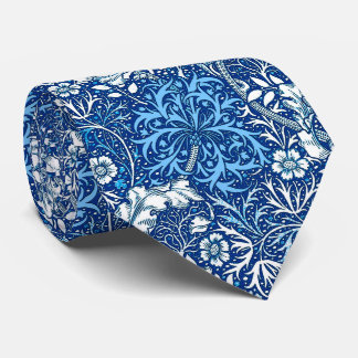 Art Nouveau Seaweed Floral, Cobalt Blue and White Neck Tie
