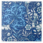 """Art Nouveau Seaweed Floral, Cobalt Blue and White Tile<br><div class=""""desc"""">Art Nouveau,  fantasy underwater floral pattern tile of graceful seaweed,  leaves and flowers,  based on a vintage William Morris textile design,  digitally enhanced and colored in white and light sky blue on a deep cobalt blue background</div>"""