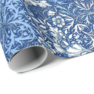 Art Nouveau Seaweed Floral, Cobalt Blue and White Wrapping Paper