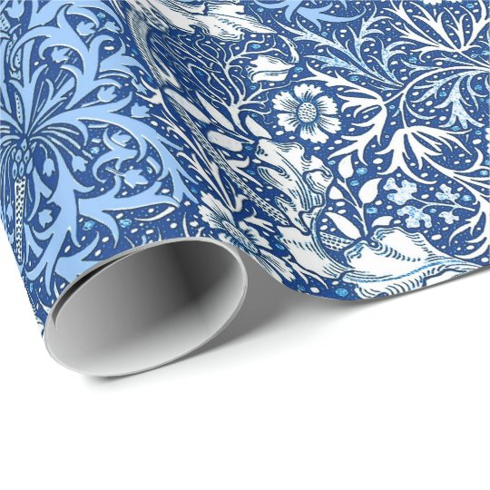 Art Nouveau Seaweed Floral Cobalt Blue And White Wrapping