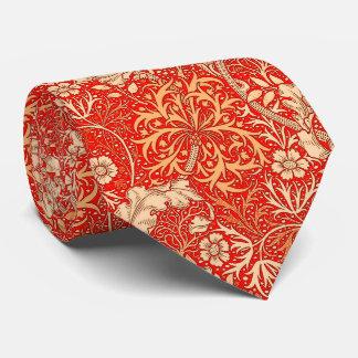 Art Nouveau Seaweed Floral, Deep Coral Orange Neck Tie