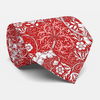 Art Nouveau Seaweed Floral, Deep Red and White Neck Tie