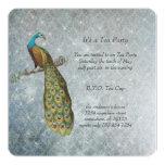 Art Nouveau Silver Metallic Peacock Tea Party 5.25x5.25 Square Paper Invitation Card
