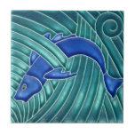 """Art Nouveau - Single Blue Fish Tile<br><div class=""""desc"""">You have the choice of two size tile.</div>"""