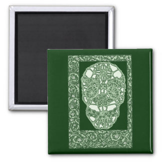 Art Nouveau Skull Green Day of the Dead 2 Inch Square Magnet