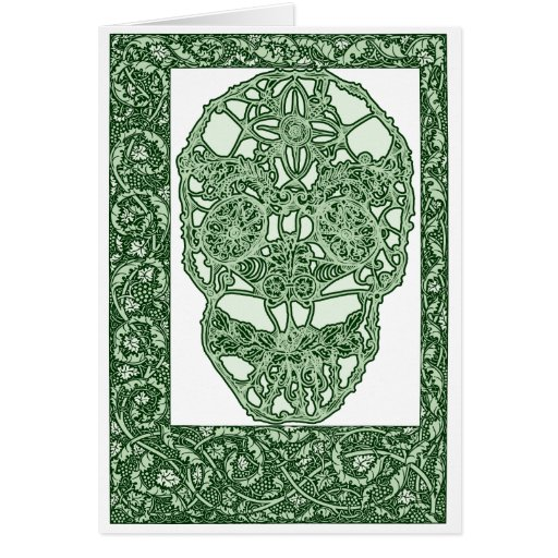 Art Nouveau Skull Green Day of the Dead Greeting Card
