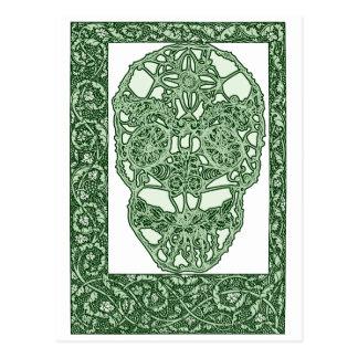 Art Nouveau Skull Green Day of the Dead Postcard